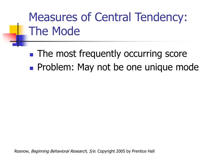 Measures of Central Tendency:
