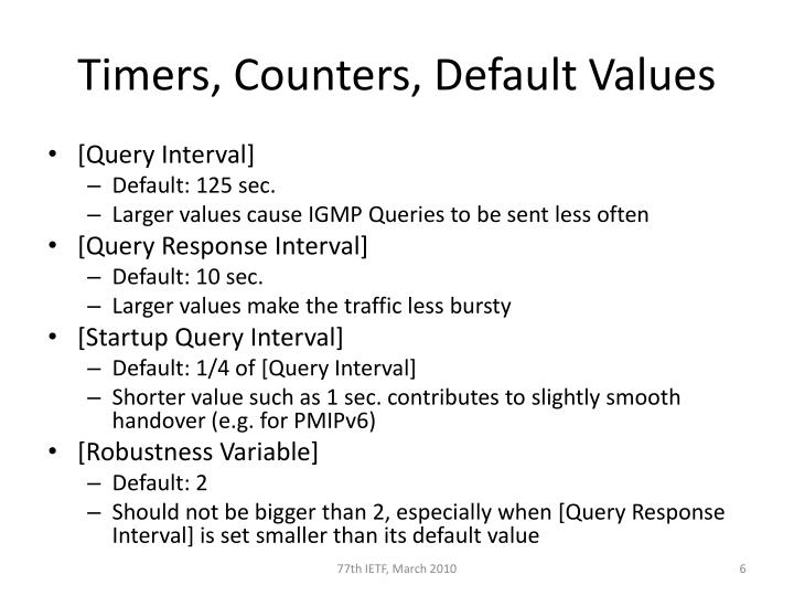 Timers, Counters, Default Values