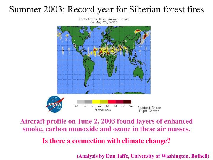 Summer 2003: Record year for Siberian forest fires