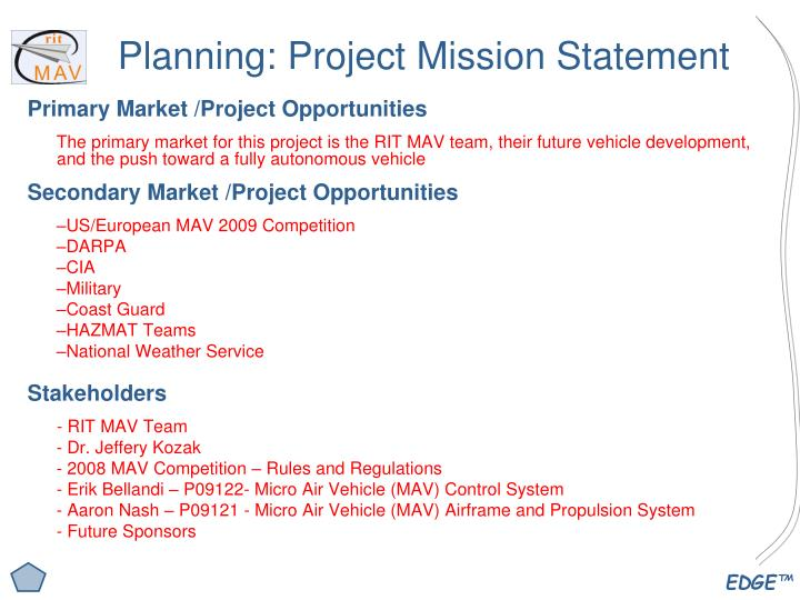 Planning: Project Mission Statement