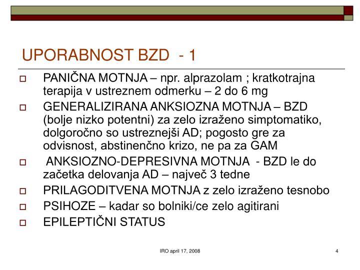 UPORABNOST BZD  - 1
