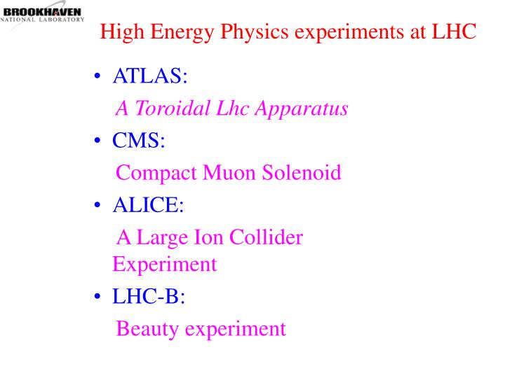 High Energy Physics experiments at LHC