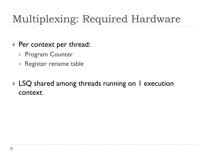 Multiplexing: Required Hardware
