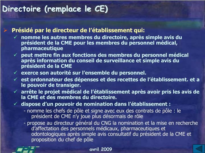 Directoire (remplace le CE)