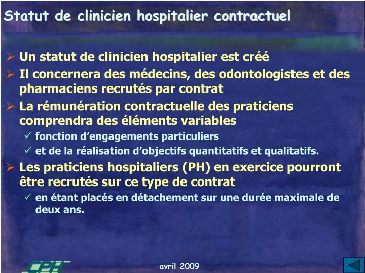 Statut de clinicien hospitalier contractuel
