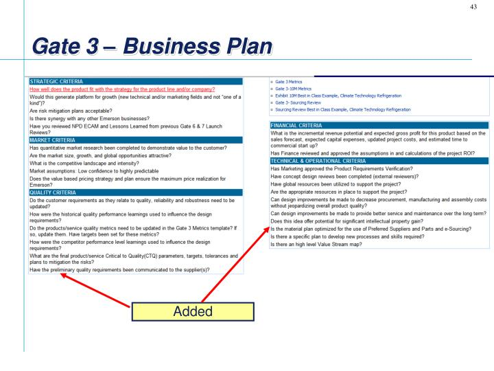 Gate 3 – Business Plan