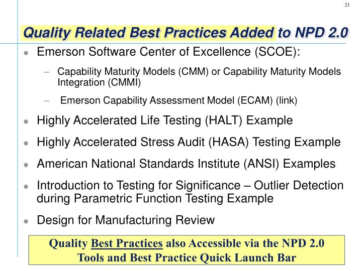 Quality Related Best Practices Added to NPD 2.0