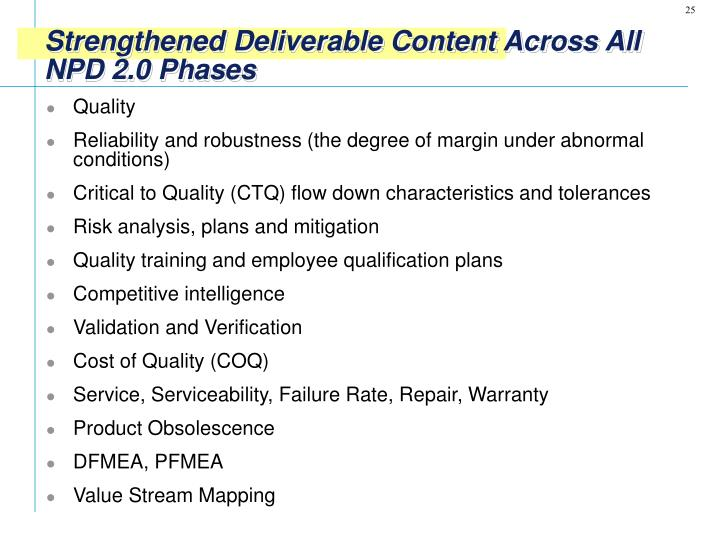 Strengthened Deliverable Content Across All NPD 2.0 Phases