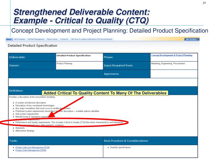 Strengthened Deliverable Content: