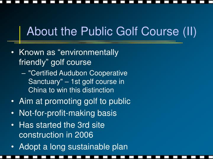 About the Public Golf Course (II)