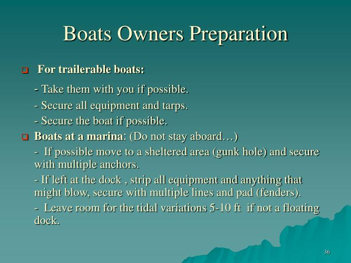 Boats Owners Preparation