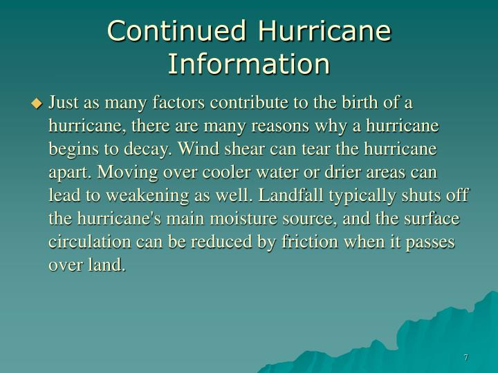 Continued Hurricane Information