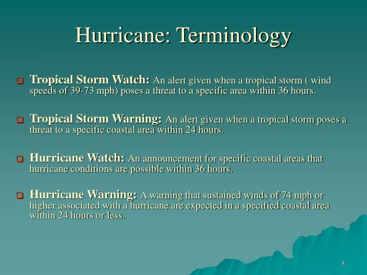 Hurricane: Terminology