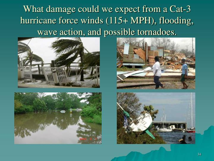 What damage could we expect from a Cat-3 hurricane force winds (115+ MPH), flooding, wave action, and possible tornadoes.