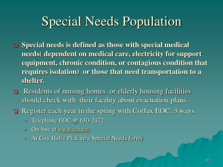 Special Needs Population