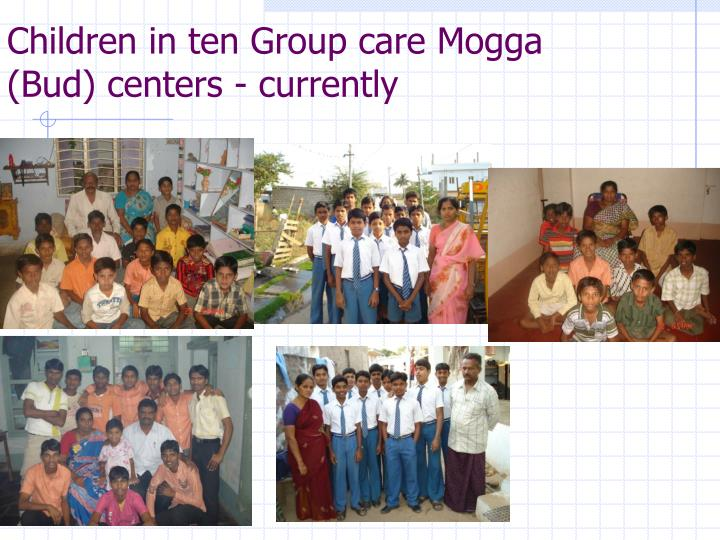 Children in ten Group care Mogga (Bud) centers - currently