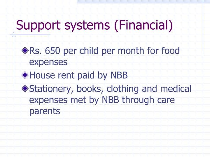 Support systems (Financial)