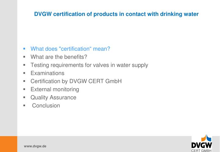 Dvgw certification of products in contact with drinking water2