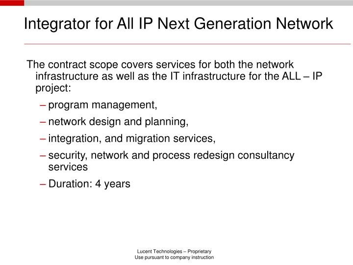 Integrator for All IP Next Generation Network