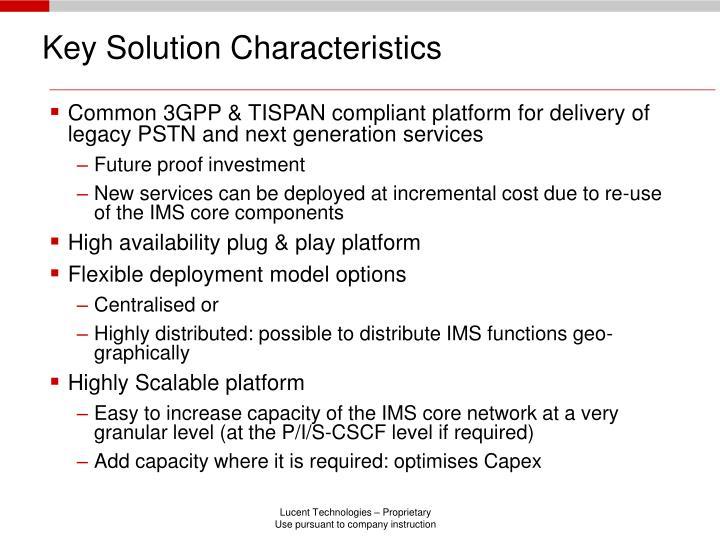 Key Solution Characteristics