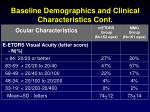 baseline demographics and clinical characteristics cont