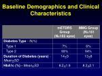 baseline demographics and clinical characteristics1