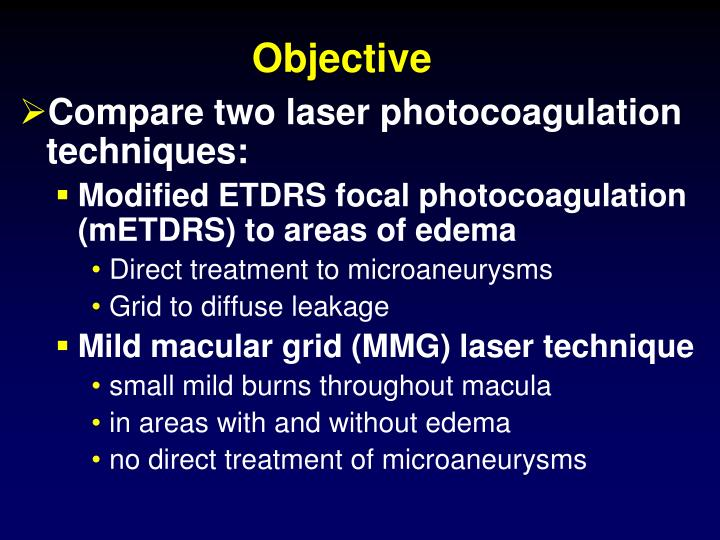 Compare two laser photocoagulation techniques: