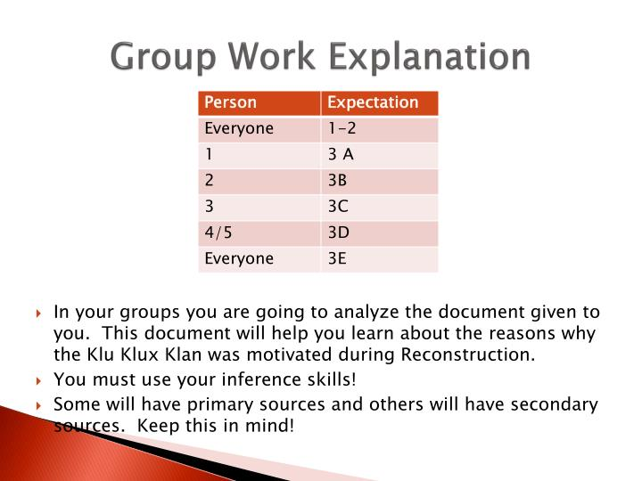 Group Work Explanation