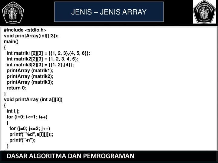 JENIS – JENIS ARRAY