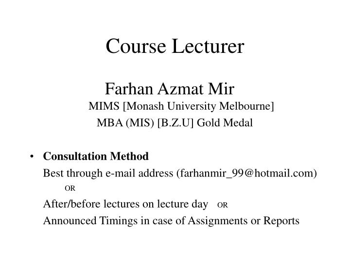 Course lecturer