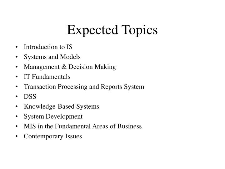 Expected Topics