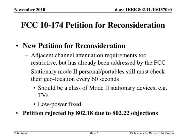 FCC 10-174 Petition for Reconsideration