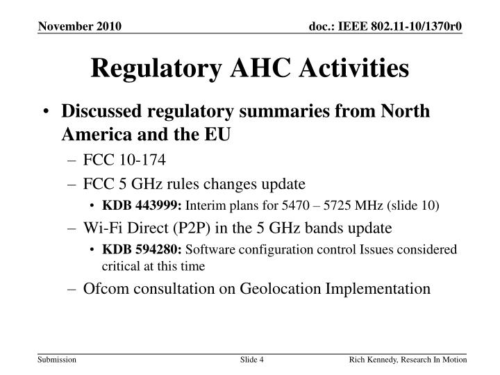 Regulatory AHC Activities