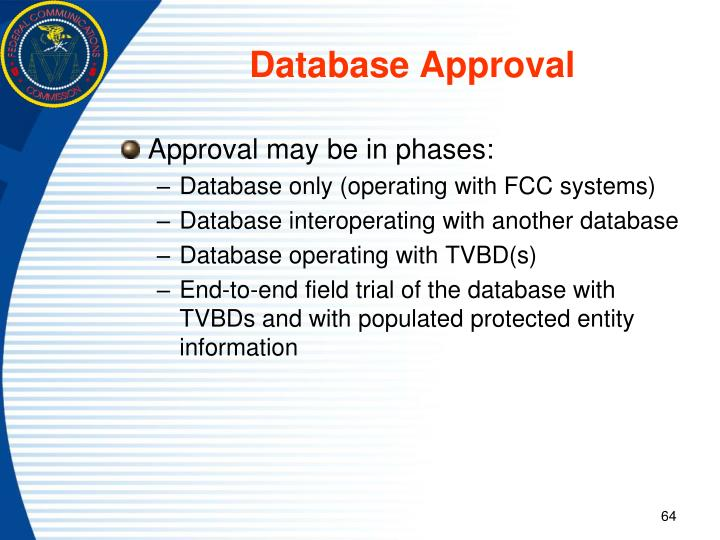 Database Approval