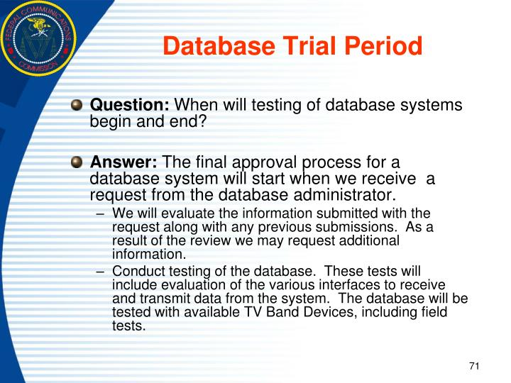 Database Trial Period