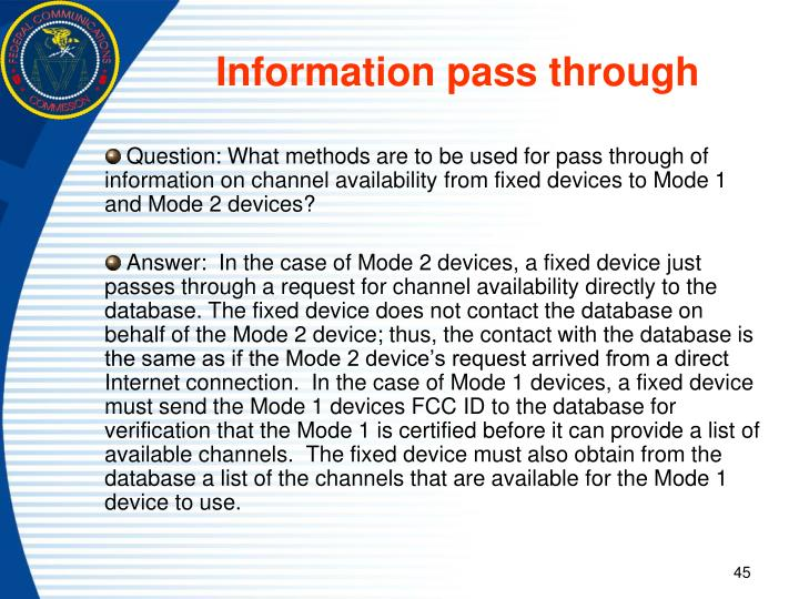 Information pass through