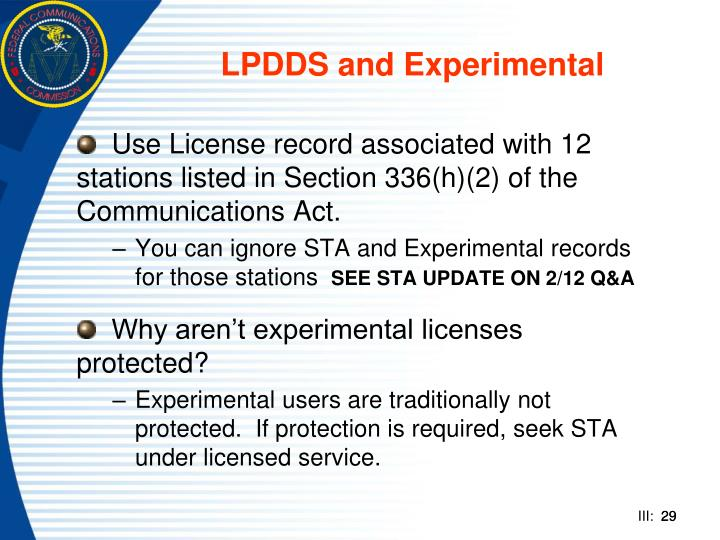 LPDDS and Experimental