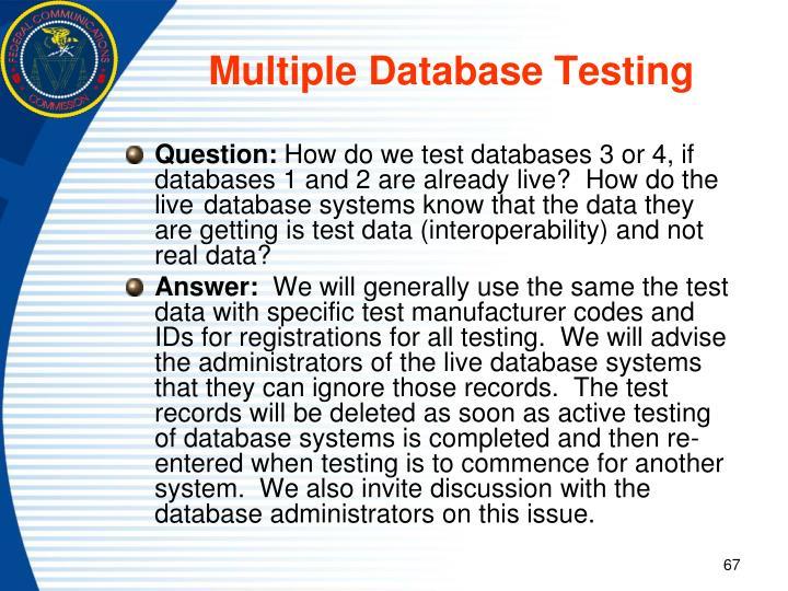 Multiple Database Testing