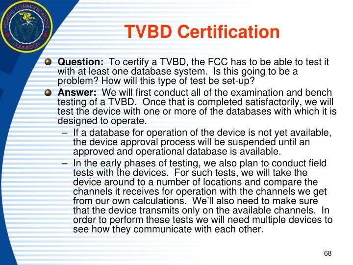 TVBD Certification