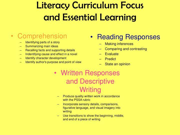 Literacy Curriculum Focus