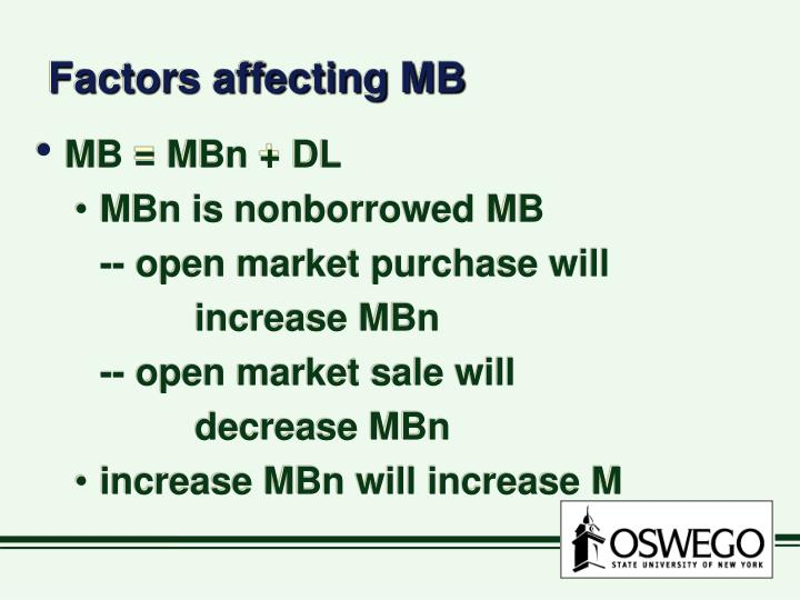 Factors affecting MB
