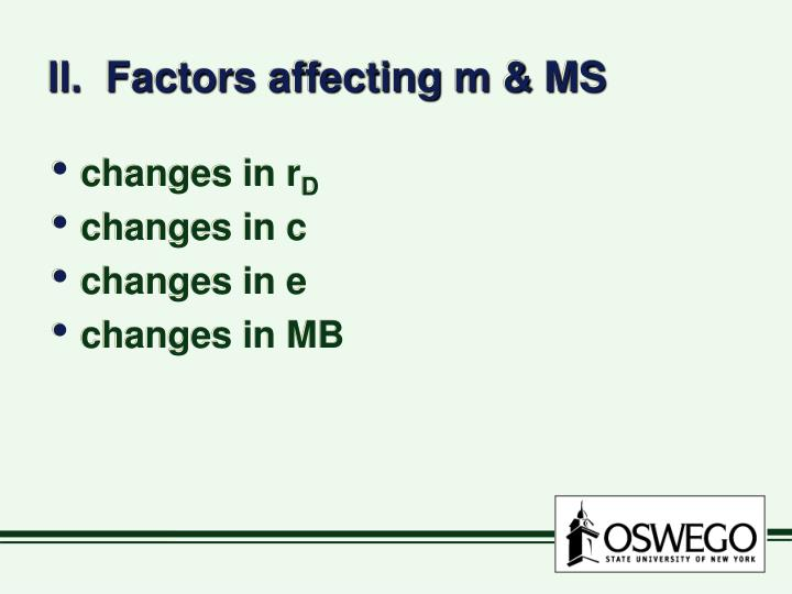 II.  Factors affecting m & MS