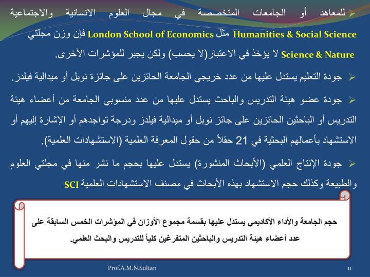 للمعاهد أو الجامعات المتخصصة في مجال العلوم الانسانية والاجتماعية
