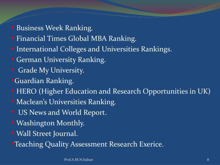 Business Week Ranking.