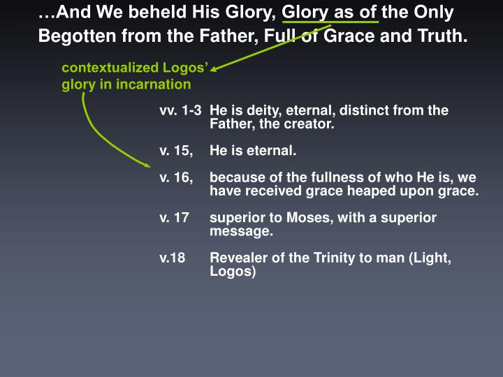 …And We beheld His Glory, Glory as of the Only Begotten from the Father, Full of Grace and Truth.