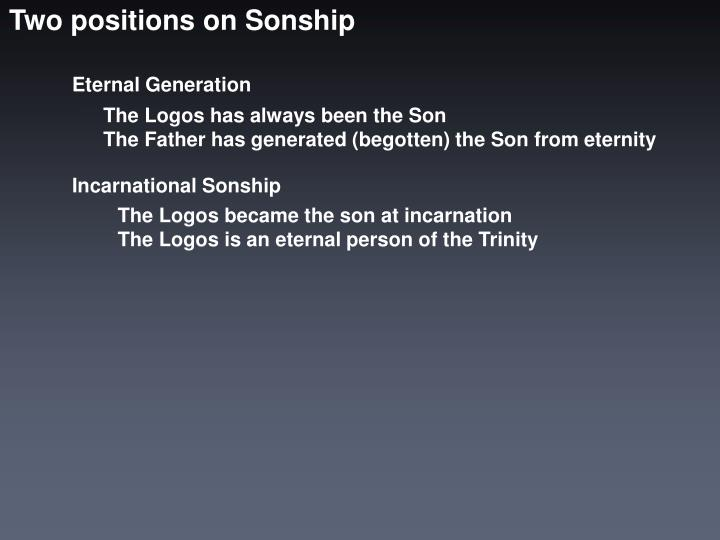 Two positions on Sonship