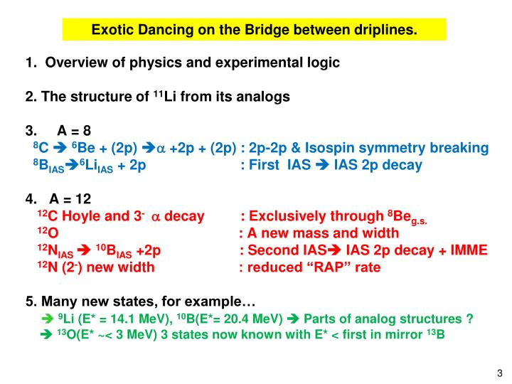 Exotic Dancing on the Bridge between driplines.