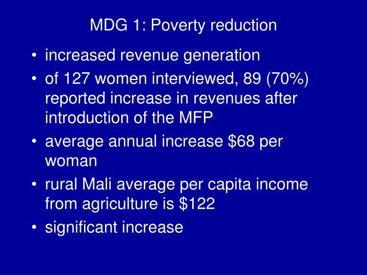 MDG 1: Poverty reduction