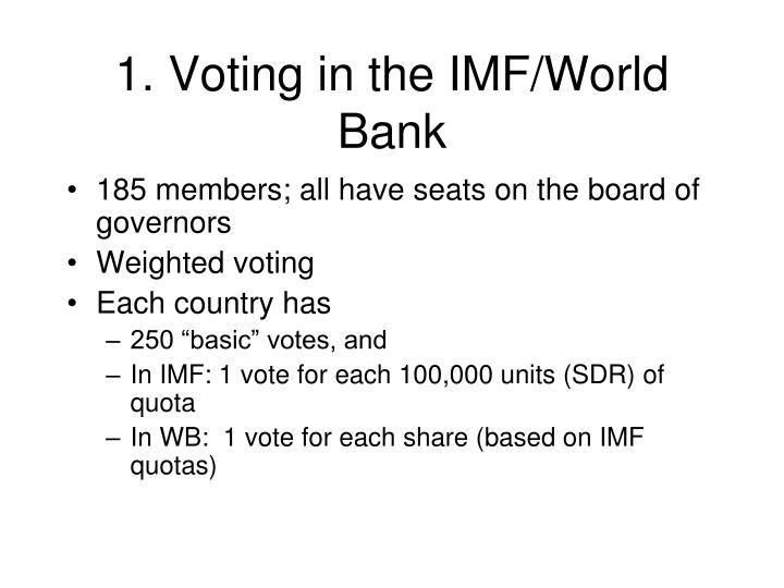 1. Voting in the IMF/World Bank