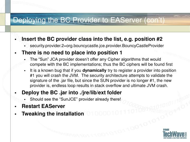 Deploying the BC Provider to EAServer (con't)